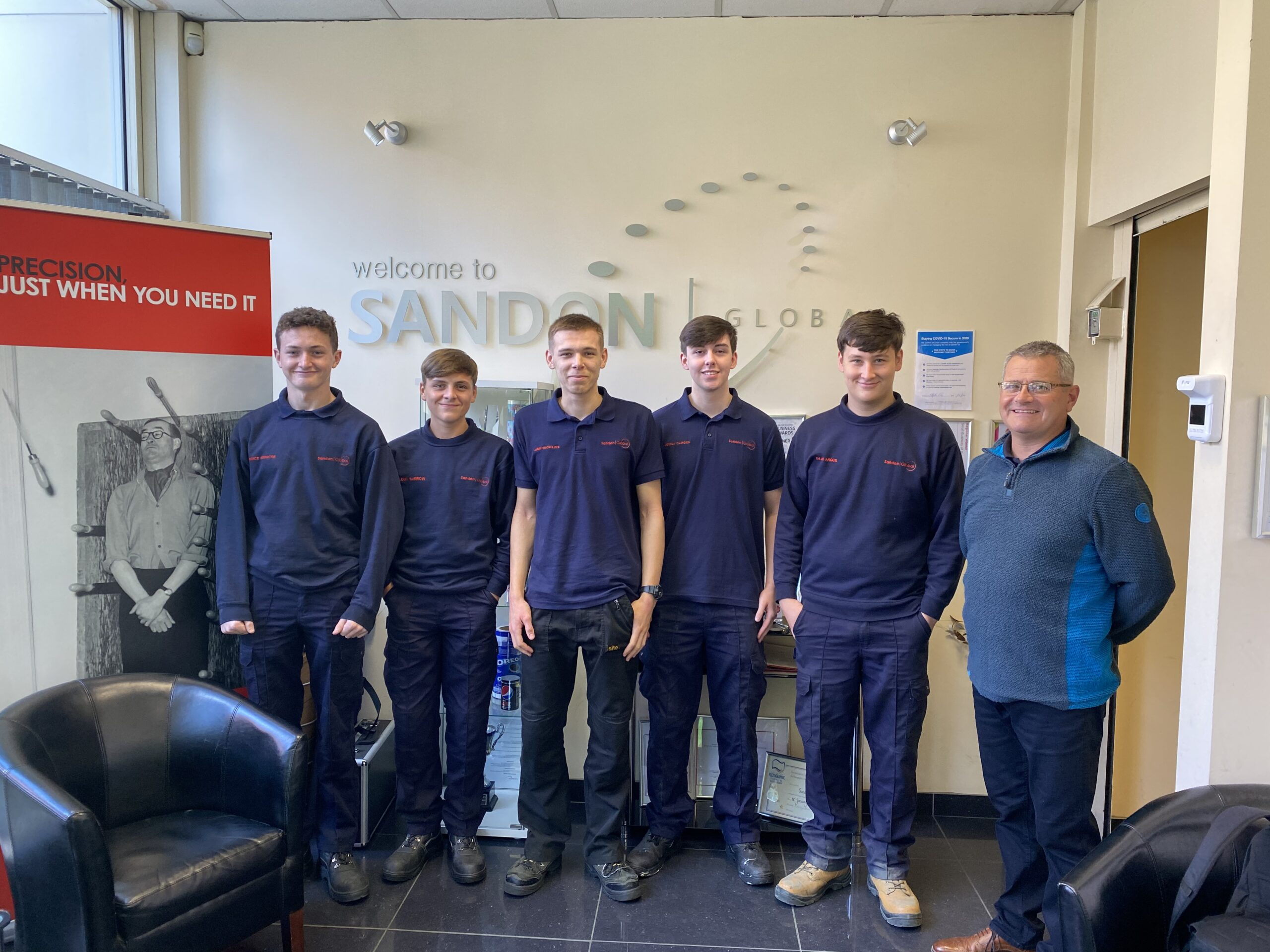 Apprentices: Reece Houghton, Louis Barrow, Jamie Hinchcliffe, Joshua Dawson, Dylan Angus and Operations Manager: Gary Carmichael